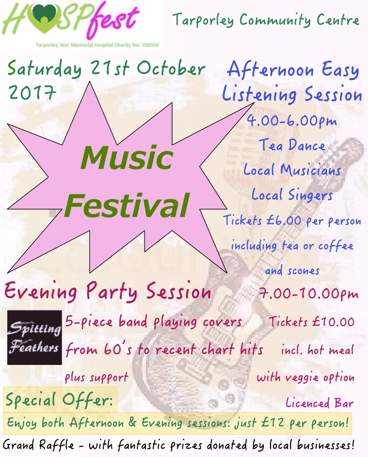 Directories a music festival in aid of the tarporley war memorial hospital will be held later in october fandeluxe Choice Image